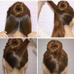 1. tie the top half of ur hair in a bun 2. separate the bottom half 3. take one side and wrap it around the other side of the bun 4. bobby pin it 5. repeat w/ the other side 6. done(: