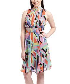 Look what I found on #zulily! Purple & Orange Geo Sleeveless Dress #zulilyfinds