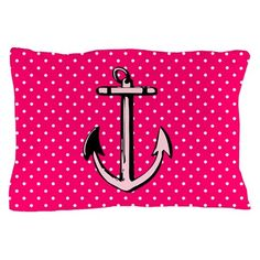 Pink, polka dots, and nautical anchor -- if you love these, you'll love this pillow case. Nautical Flip Flops, Nautical Anchor, Accessories Shop, Duvet, Pillow Cases, Polka Dots, Throw Pillows, Pink, Design