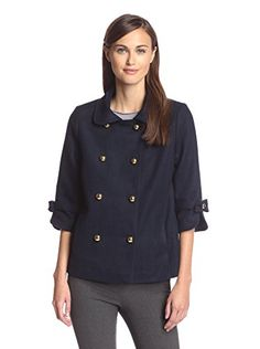www.myhabit.com  Stylish short peacoat with collar, 3/4 split cuff sleeves with bow accents, 2-front slip pockets and metal button-front closures