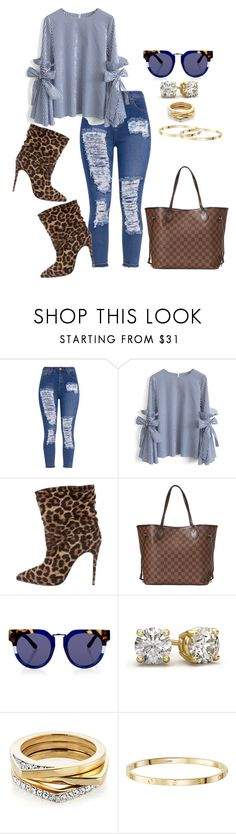 """Untitled #1889"" by ladiistaff ❤ liked on Polyvore featuring Chicwish, Christian Louboutin, Louis Vuitton and Kaleos"