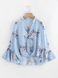 SheIn offers Flower Print Gathered Pleated Front Blouse & more to fit your fashionable needs. Girls Fashion Clothes, Teen Fashion Outfits, Hijab Fashion, Girl Fashion, Casual Outfits, Fashion Dresses, Blouse Styles, Blouse Designs, Pretty Outfits