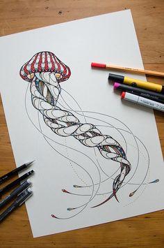 Jellyfish Drawing by Andreas Preis // Animal Poker // www.designerpreis.com: