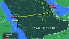 Map of Saudi Arabia's oil facilities and shipping routes. (Current as of Uranium, Oil Industry, Cyber Attack, Riyadh, Jeddah, Saudi Arabia, Middle East, Geography, Maps