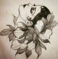 Alix Ge tattoo, Sète, France alixgp - I got this as a tattoo Head Tattoos, Body Art Tattoos, Girl Tattoos, Tattoo Sketches, Tattoo Drawings, Desenhos Old School, Desenho Tattoo, Flash Art, Neo Traditional Tattoo