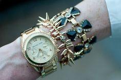J.Crew bow tuxedo bracelet, Stella and Dot bracelet