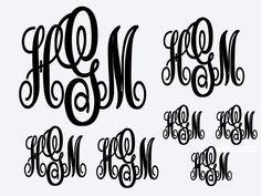 Monogram Decals Set   (Indoor Vinyl) ~ Set of 7 by FourWinks on Etsy