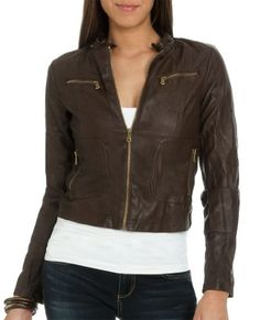 Wet Seal Women s Crinkle Leathertte Moto Jacket M Brown Sweater Jacket fe7a7d107e761