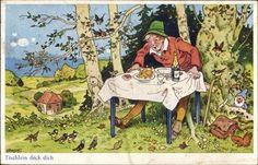 Künstler Ak Baumgarten, Fritz, Tischlein deck dich, Vögel, Zwerg, ... - 1363749 in Sammeln & Seltenes, Ansichtskarten, Motive | eBay