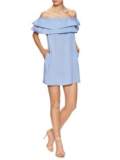 Firth Cotton Tiered Off Shoulder Shift Dress