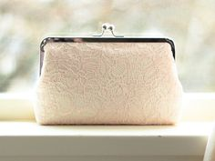 Bridal Clutch / Brush Lace Clutch / Wedding Purse (Antoinette Clutch : Blush on Ivory)