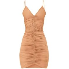 Camel Fishnet Ruched Front Strappy Bodycon Dress ($26) ❤ liked on Polyvore featuring dresses, plunge-neck dresses, red body con dress, strappy bodycon dress, ruched cocktail dress and fishnet dress