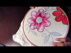Bordado Fantasía Flor 3 - YouTube Silk Ribbon Embroidery, Embroidery Hoop Art, Embroidery Patterns, Embroidery Stitches Tutorial, Embroidery Techniques, Point Lace, Brazilian Embroidery, Leather Art, Needlework