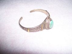 Vintage Native American silver and  turquoise poison pill bracelet