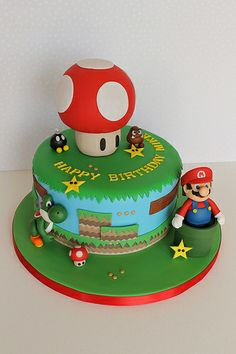 Mario cake::: my favorite Bolo Super Mario, Mario Birthday Cake, Super Mario Birthday, Mario Bros Cake, Cake Creations, Cupcake Cookies, Cake Recipes, Cake Designs, Mario Bros.