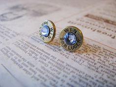 9mm Light Blue Crystal Bullet Earrings by bluesparrowtrinkets, $15.00