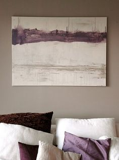 the grey wall color and purple accents