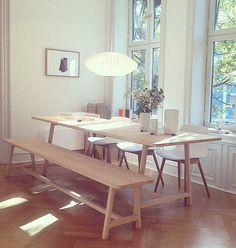 wrong for hay frame table Home Interior Design, Interior Architecture, Scandinavian Design House, Dining Chairs, Dining Table, Table Bench, Dining Rooms, Hay Design, Cozy Living