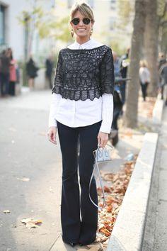Look com calca Stella McCartney, camisa T by Alexander Wang, batinha Martha Medeiros, bolsa Tod´s e sapato Dolce e Gabbana.