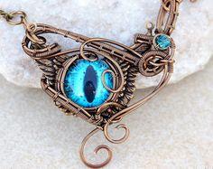 Purple dragon eye pendant/Wire wrapped pendant/Purple by Ianira