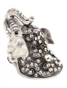 SILVER CRYSTAL ELEPHANT LADIES FASHION STRETCH RING - View All Rings - Rings - Jewellery