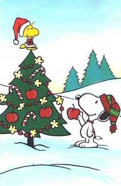 Woodstock and Snoopy decorating their Christmas tree! Charlie Brown Christmas tree!
