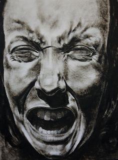 "https://www.facebook.com/claralieu/ Clara Lieu, Self-Portrait No. 49, etching ink and lithographic crayon on Dura-Lar, 48"" x 36"", 2012"