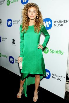 Pin for Later: The Stars Saved Their Loudest Looks For the Grammys Afterparties AnnaLynne McCord AnnaLynne McCord made a slinky statement in an asymmetrical kelly-green dress.