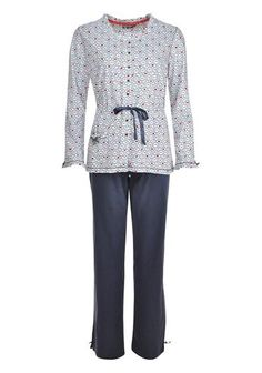 Pastunette White and Grey Bow Print Pyjama Set. Available to purchase online www.mcelhinneys.com