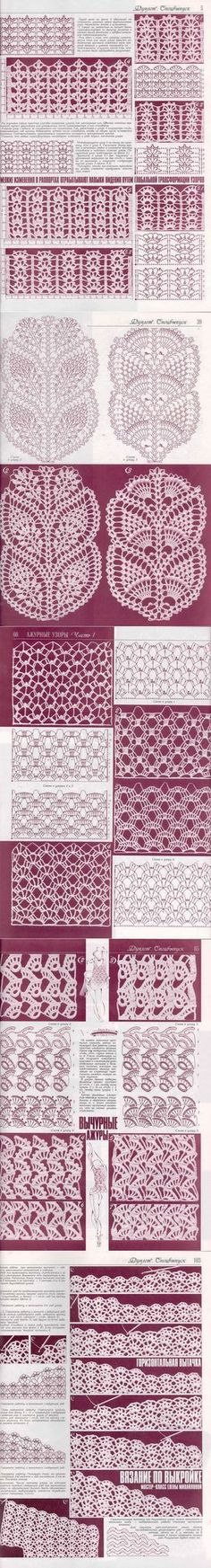 Knitting and Crochet Patterns for your designs. They will help you with crochet scheme. Crochet Stitches Chart, Crochet Motifs, Crochet Borders, Crochet Diagram, Thread Crochet, Filet Crochet, Knitting Stitches, Crochet Doilies, Knit Crochet