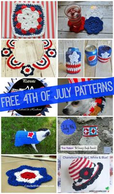 Free of July Pattern Roundup.some really nice free patterns in this group! Crochet Round, Crochet Home, Knit Or Crochet, Cute Crochet, Crochet Crafts, Yarn Crafts, Crochet Stitches, Crochet Projects, Crochet Patterns