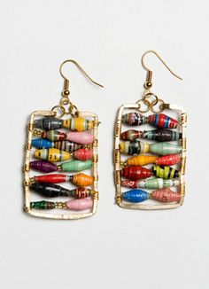 So pretty and they go with everything!  These earrings were designed by a dear friend of mine and are made in Uganda by African Style (Jalia and Daniel and community!)