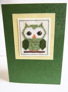 Handmade Green Owl Cross Stitch Card by HandmadeVCreations on Etsy
