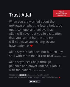 Islam Hadith, Having Patience, No Worries, Verses, Hold On, Trust, Believe, Naruto Sad, Poems