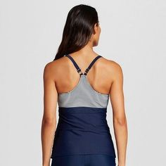 Women's Shirred Racerback Tankini Top - Navy Stripe - XS - Merona, Navy Voyage Stripe