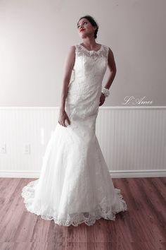 Exquisitely Elegant Long Ivory Wedding Bridal Dress  amde by LAmei
