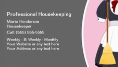 75 Best Girly Cleaning Services Business Cards Images Housekeeping