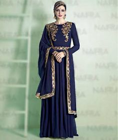 Buy Navy Blue Georgette Long Anarkali Suit 72752 online at lowest price from huge collection of salwar kameez at Indianclothstore.com.