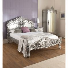 Marvelous La Rochelle Silver Rococo Antique French Bed