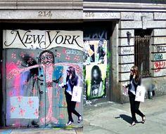 """El artista italiano Paolo Cirio imprime a las personas que salen en Google Street y las vuelve a incorporar al mismo lugar donde fueron 'fotografiadas' pegándolas en la pared, llamando a la obra """"FANTASMAS STREET""""."""