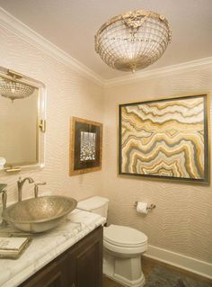 Olmos Park powder bath in elegant tone-on-tone Moon Painting, Paper Moon, Wallpaper Gallery, Powder, Bath, Interior Design, Mirror, Elegant, Projects