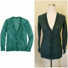 J. Crew Mohair Cardigan Blueish green Cardigan. In perfect condition. Adorable buttons. Fits like a small. J. Crew Sweaters Cardigans