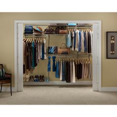 The ClosetMaid 5 to 8 ft. ShelfTrack Closet Organizer Kit offers configuration and shelf adjustability for a custom fit. When assembled, the closet organizer's total dimensions are 78 in. H x 96 in. W Closet System, Home Depot Closet Organizer, Closet Organizing Systems, Closet Organizer Kits, Organizing Systems, Closet Organization, Home Depot Closet, Closetmaid, Closet Clutter