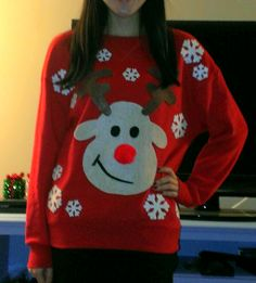 my diy reindeer & snowflakes ugly christmas sweater. made with felt, hot glue, red pom (nose), and pre-cut felt snowflakes