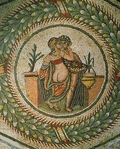 Two lovers. Medallion mosaic (3rd-4th CE) from the cubicle of erotic scenes in the Villa del Casale, Piazza Armerina, Sicily, Italy. Villa Romana del Casale, Piazza Armerina, Italy