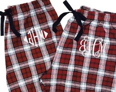 Single Pair of Monogrammed Pajamas  by PremiereEmbroidery on Etsy