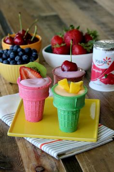 """Make fruit and yogurt """"ice cream"""" cones for hot summer days! Pick up your favorite Yoplait flavors, fresh fruit toppings and cones...it doesn't get much easier than that!"""