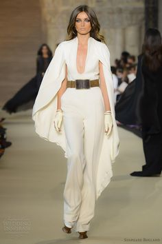 stephane rolland fall 2012 couture white wool jersey and silk crepe jumpsuit, evening wear, haute couture