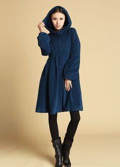 Blue women's wool hooded coat 476 by xiaolizi on Etsy, $128.00