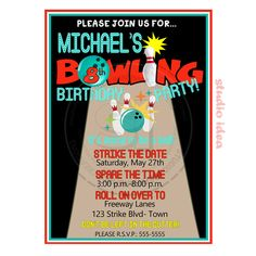 Personalised Bowling  Party Printable Invitation- Personalized Strike Birthday Invitation- DIY Digital File by StudioIdea on Etsy